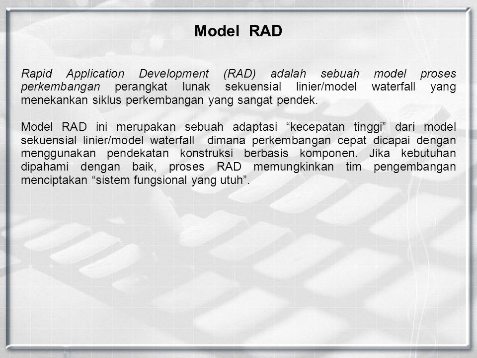 Model RAD Rapid Application Development (RAD) adalah sebuah model proses perkembangan perangkat lunak sekuensial linier/model waterfall yang menekankan siklus perkembangan yang sangat pendek.