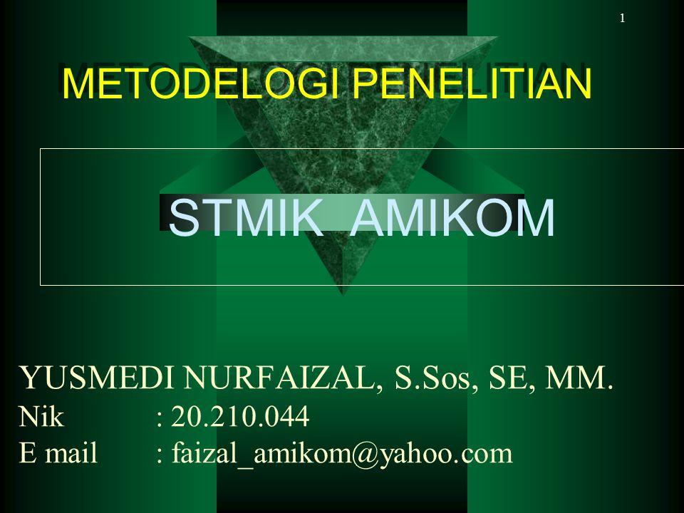 1 YUSMEDI NURFAIZAL, S.Sos, SE, MM. Nik: 20.210.044 E mail: faizal_amikom@yahoo.com METODELOGI PENELITIAN METODELOGI PENELITIAN STMIK AMIKOM