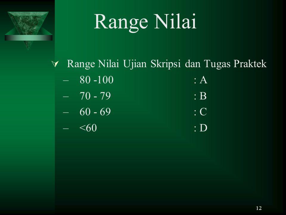 12 Range Nilai  Range Nilai Ujian Skripsi dan Tugas Praktek –80 -100: A –70 - 79: B –60 - 69: C –<60: D