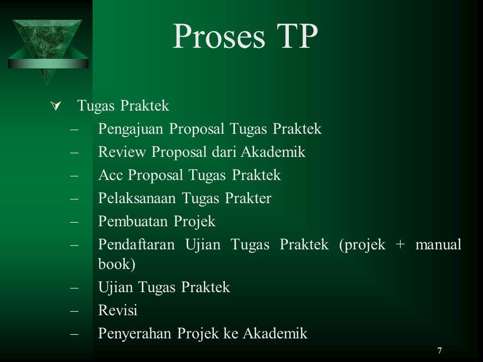 7 Proses TP  Tugas Praktek –Pengajuan Proposal Tugas Praktek –Review Proposal dari Akademik –Acc Proposal Tugas Praktek –Pelaksanaan Tugas Prakter –P