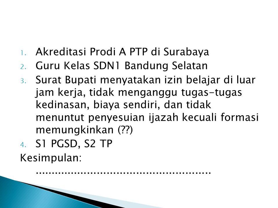 Drs. A. Said, Guru SDN 1 Bandung Selatan, pangkat Pembina golongan IV/a. Pada bulan Januari mengajukan penilaian dengan melampirkan antara lain ijazah