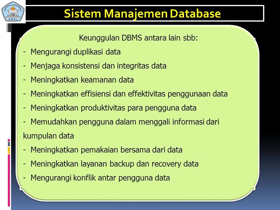 Sistem Manajemen Basis-Data (Data Base Management System / DBMS) adalah perangkat lunak sistem yang memungkinkan para pemakai membuat, memelihara, men