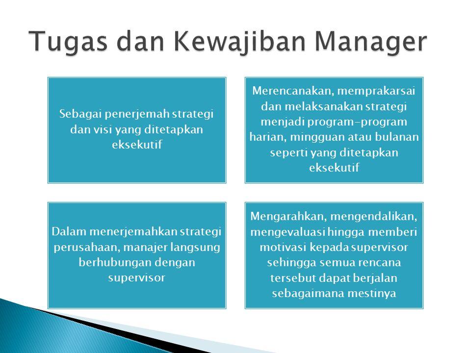Sebagai penerjemah strategi dan visi yang ditetapkan eksekutif Merencanakan, memprakarsai dan melaksanakan strategi menjadi program-program harian, mi