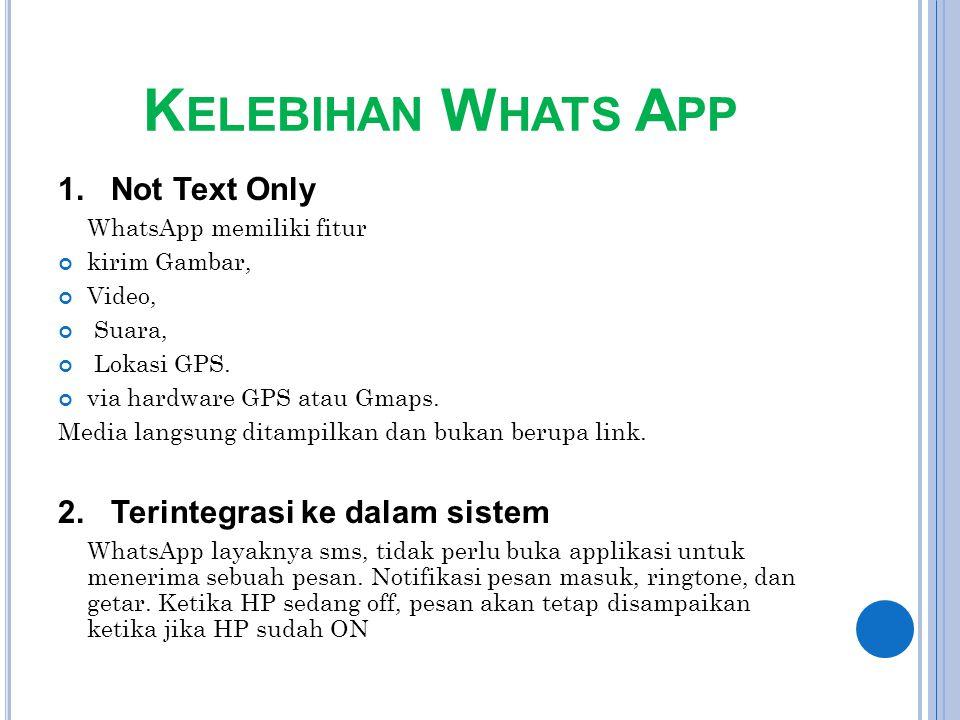 K ELEBIHAN W HATS A PP 1. Not Text Only WhatsApp memiliki fitur kirim Gambar, Video, Suara, Lokasi GPS. via hardware GPS atau Gmaps. Media langsung di
