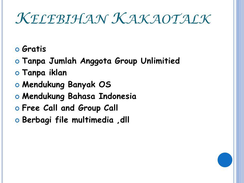 K ELEBIHAN K AKAOTALK Gratis Tanpa Jumlah Anggota Group Unlimitied Tanpa iklan Mendukung Banyak OS Mendukung Bahasa Indonesia Free Call and Group Call