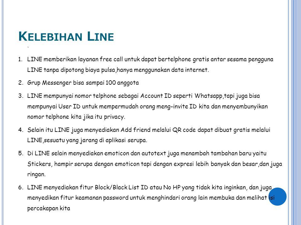 K ELEBIHAN L INE ` 1.LINE memberikan layanan free call untuk dapat bertelphone gratis antar sesama pengguna LINE tanpa dipotong biaya pulsa,hanya meng