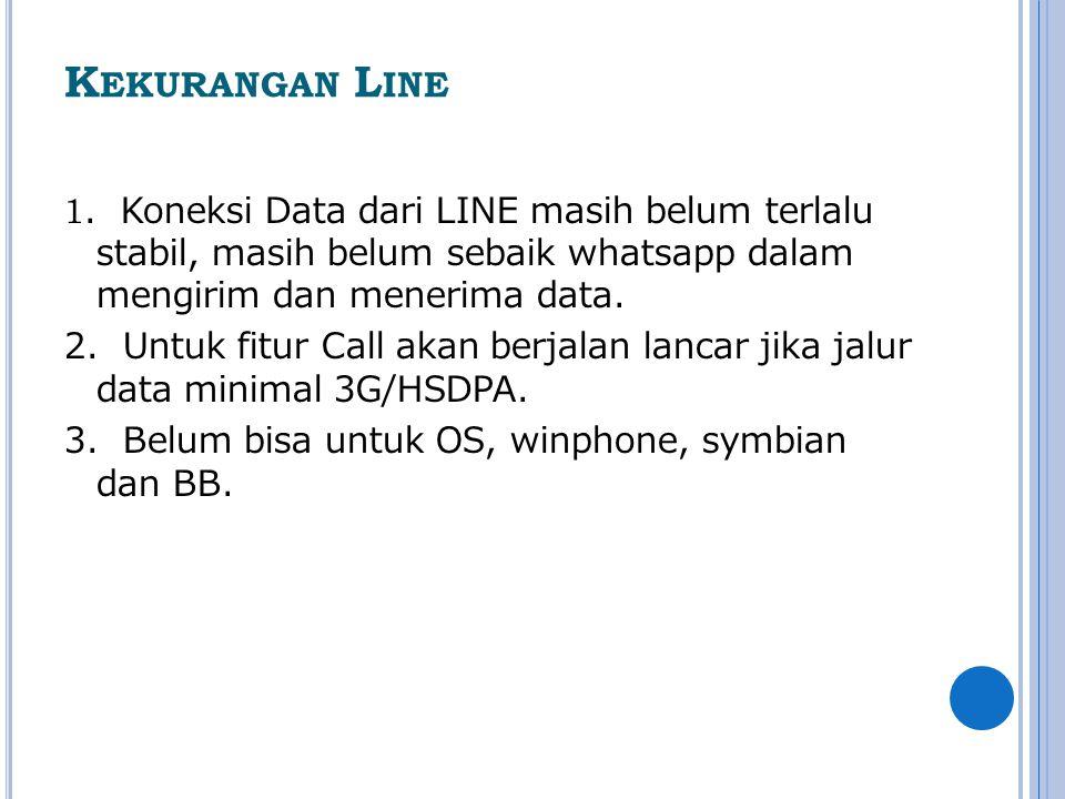 K EKURANGAN L INE 1. Koneksi Data dari LINE masih belum terlalu stabil, masih belum sebaik whatsapp dalam mengirim dan menerima data. 2. Untuk fitur C