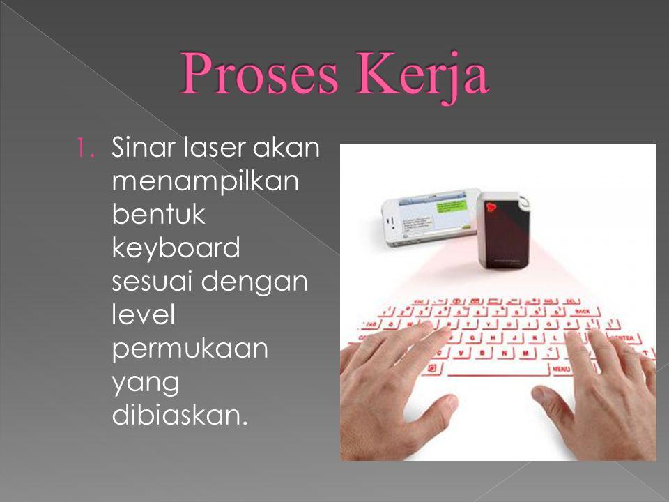 1. Sinar laser akan menampilkan bentuk keyboard sesuai dengan level permukaan yang dibiaskan.
