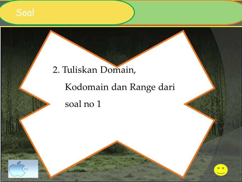 2. Tuliskan Domain, Kodomain dan Range dari soal no 1 Soal