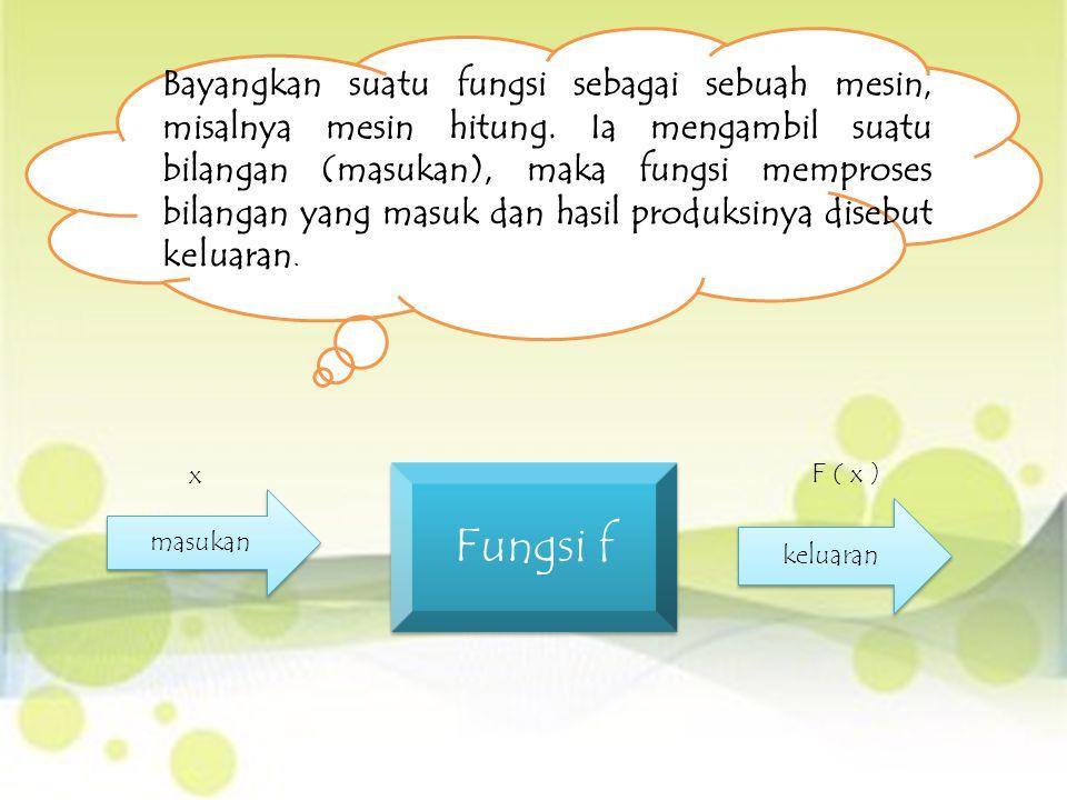 Bayangkan suatu fungsi sebagai sebuah mesin, misalnya mesin hitung. Ia mengambil suatu bilangan (masukan), maka fungsi memproses bilangan yang masuk d
