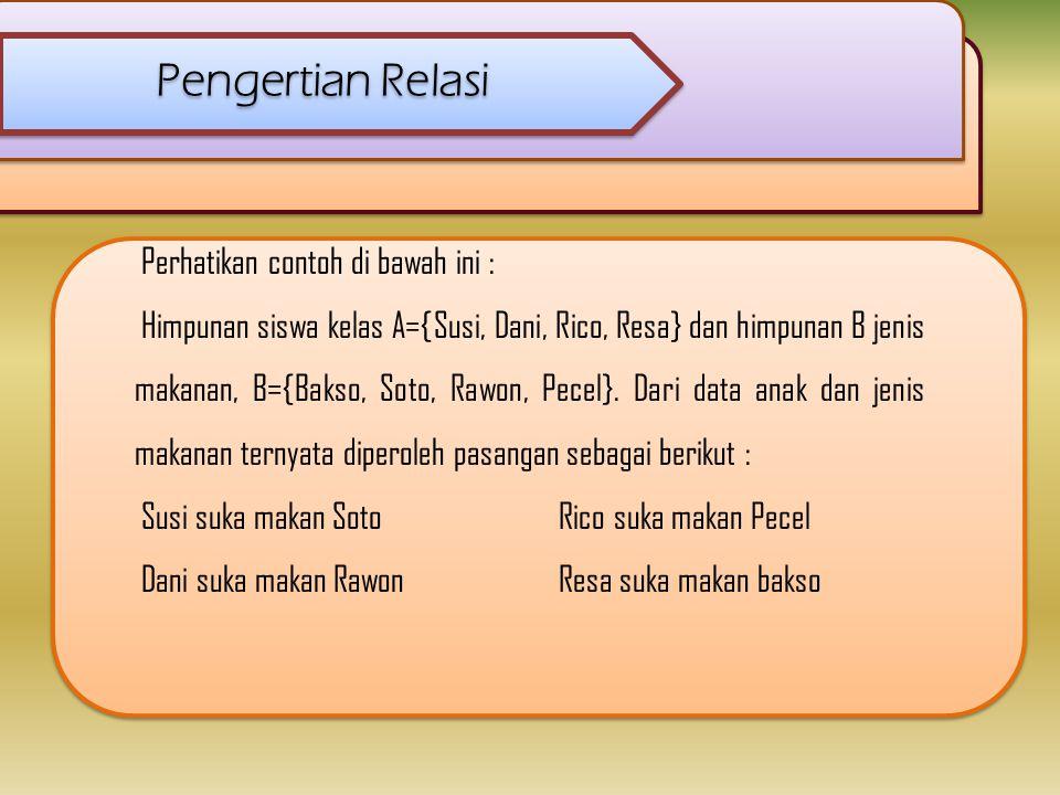 Pengertian Relasi Perhatikan contoh di bawah ini : Himpunan siswa kelas A={Susi, Dani, Rico, Resa} dan himpunan B jenis makanan, B={Bakso, Soto, Rawon