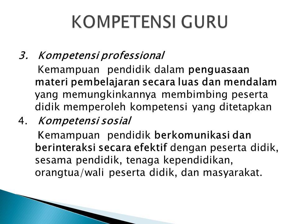 3. Kompetensi professional Kemampuan pendidik dalam penguasaan materi pembelajaran secara luas dan mendalam yang memungkinkannya membimbing peserta di
