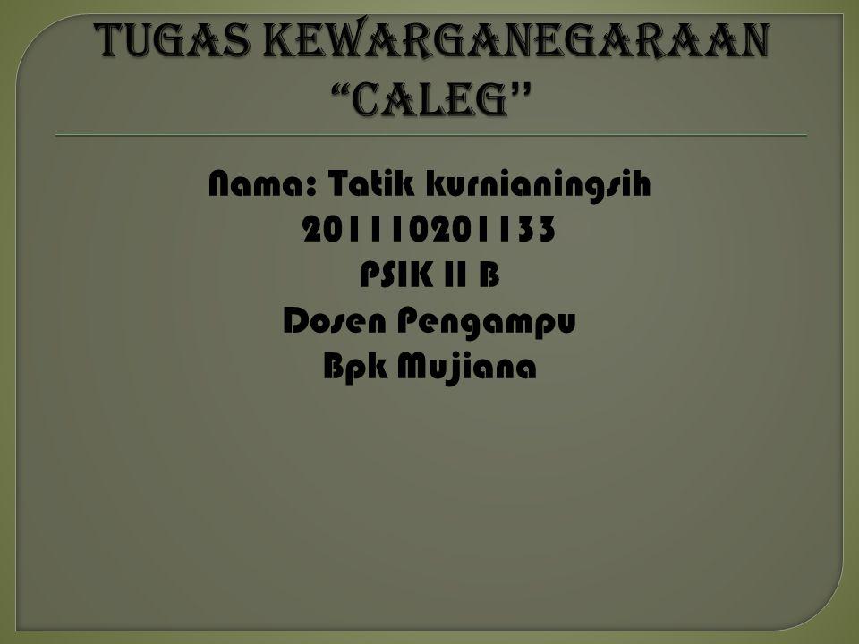 Nama: Tatik kurnianingsih 201110201133 PSIK II B Dosen Pengampu Bpk Mujiana