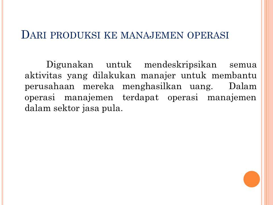 D ARI PRODUKSI KE MANAJEMEN OPERASI Digunakan untuk mendeskripsikan semua aktivitas yang dilakukan manajer untuk membantu perusahaan mereka menghasilk