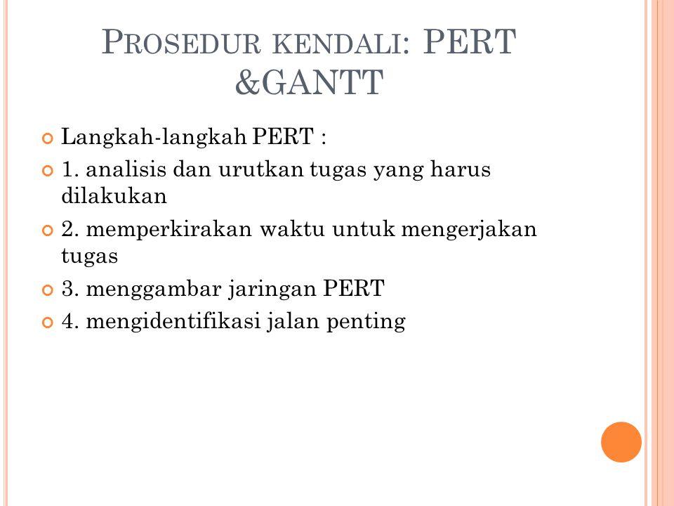 P ROSEDUR KENDALI : PERT &GANTT Langkah-langkah PERT : 1. analisis dan urutkan tugas yang harus dilakukan 2. memperkirakan waktu untuk mengerjakan tug