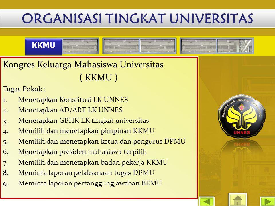 ORGANISASI TINGKAT UNIVERSITAS KKMU Kongres Keluarga Mahasiswa Universitas ( KKMU ) Tugas Pokok : 1.Menetapkan Konstitusi LK UNNES 2.Menetapkan AD/ART