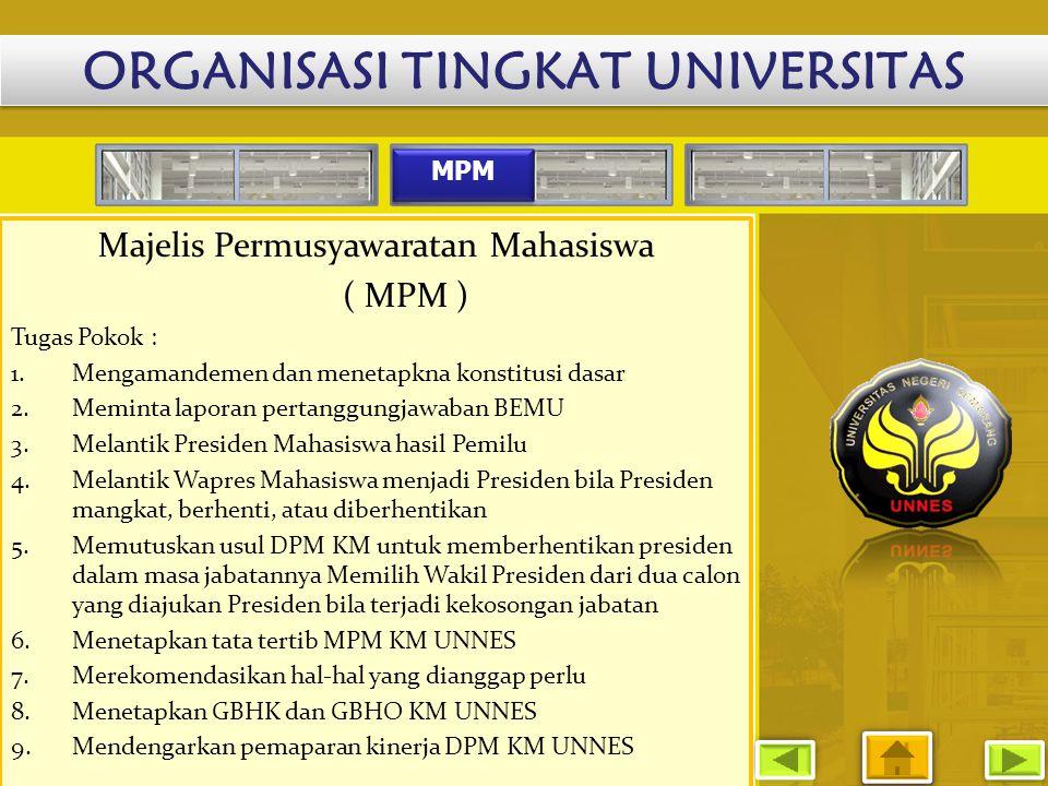MPM Majelis Permusyawaratan Mahasiswa ( MPM ) Tugas Pokok : 1.Mengamandemen dan menetapkna konstitusi dasar 2.Meminta laporan pertanggungjawaban BEMU