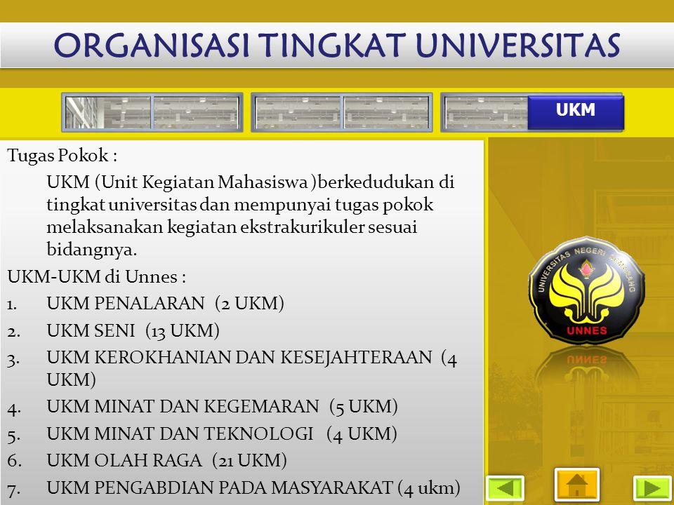 UKM Tugas Pokok : UKM (Unit Kegiatan Mahasiswa )berkedudukan di tingkat universitas dan mempunyai tugas pokok melaksanakan kegiatan ekstrakurikuler se