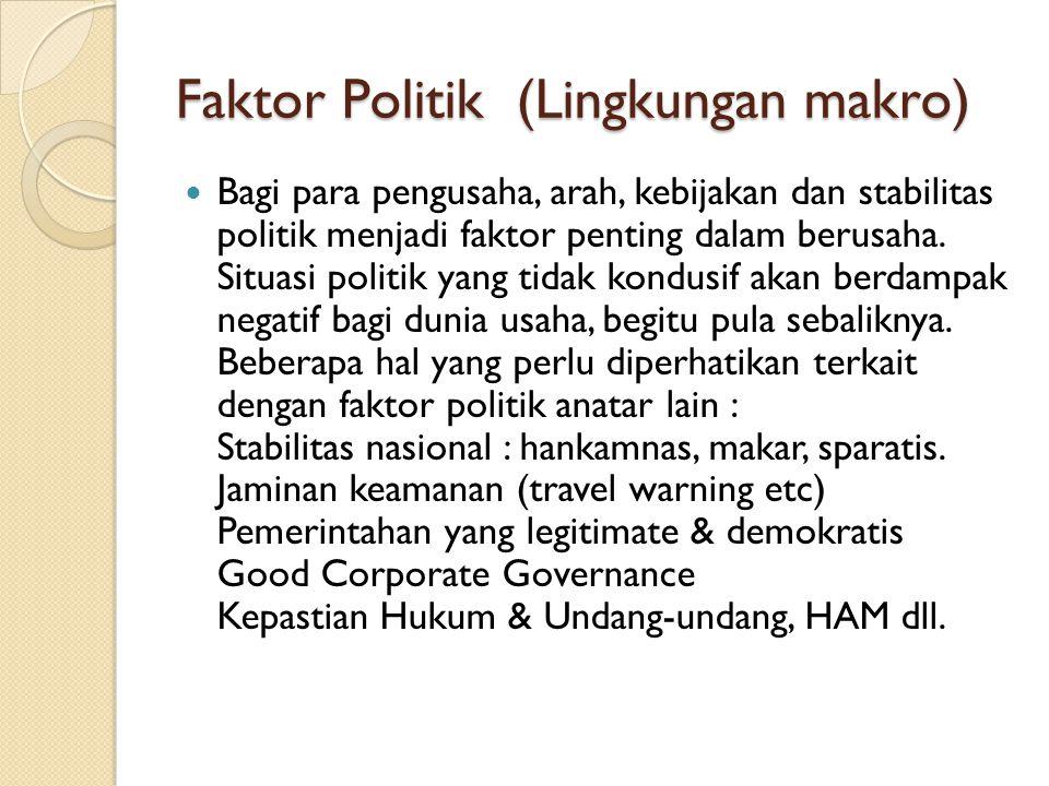 Faktor Politik (Lingkungan makro) Bagi para pengusaha, arah, kebijakan dan stabilitas politik menjadi faktor penting dalam berusaha. Situasi politik y