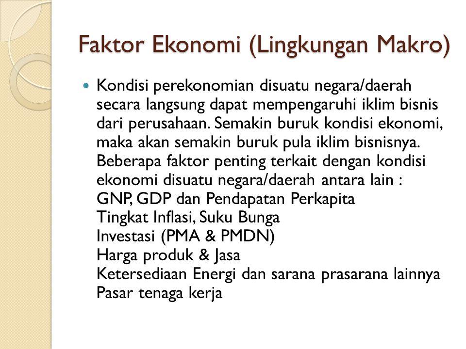 Faktor Ekonomi (Lingkungan Makro) Kondisi perekonomian disuatu negara/daerah secara langsung dapat mempengaruhi iklim bisnis dari perusahaan. Semakin