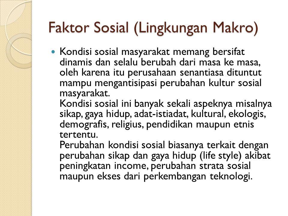 Faktor Sosial (Lingkungan Makro) Kondisi sosial masyarakat memang bersifat dinamis dan selalu berubah dari masa ke masa, oleh karena itu perusahaan se