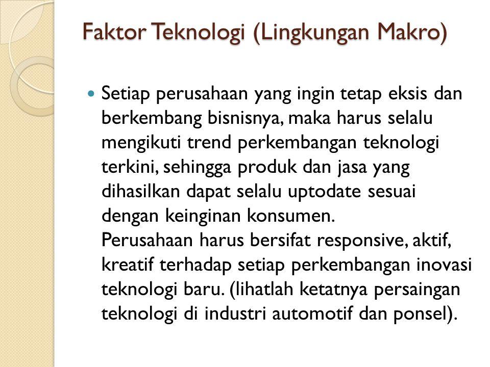 Faktor Teknologi (Lingkungan Makro) Setiap perusahaan yang ingin tetap eksis dan berkembang bisnisnya, maka harus selalu mengikuti trend perkembangan