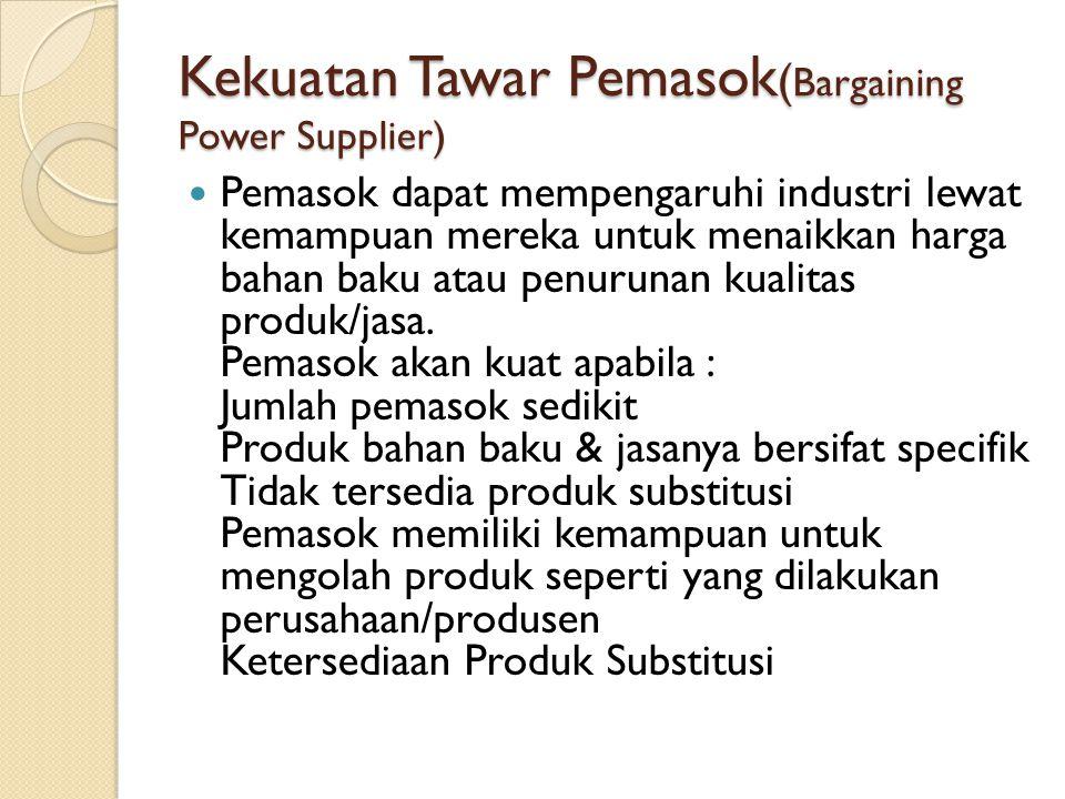Kekuatan Tawar Pemasok ( Bargaining Power Supplier) Pemasok dapat mempengaruhi industri lewat kemampuan mereka untuk menaikkan harga bahan baku atau p