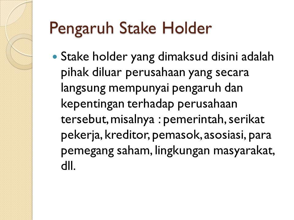 Pengaruh Stake Holder Stake holder yang dimaksud disini adalah pihak diluar perusahaan yang secara langsung mempunyai pengaruh dan kepentingan terhada