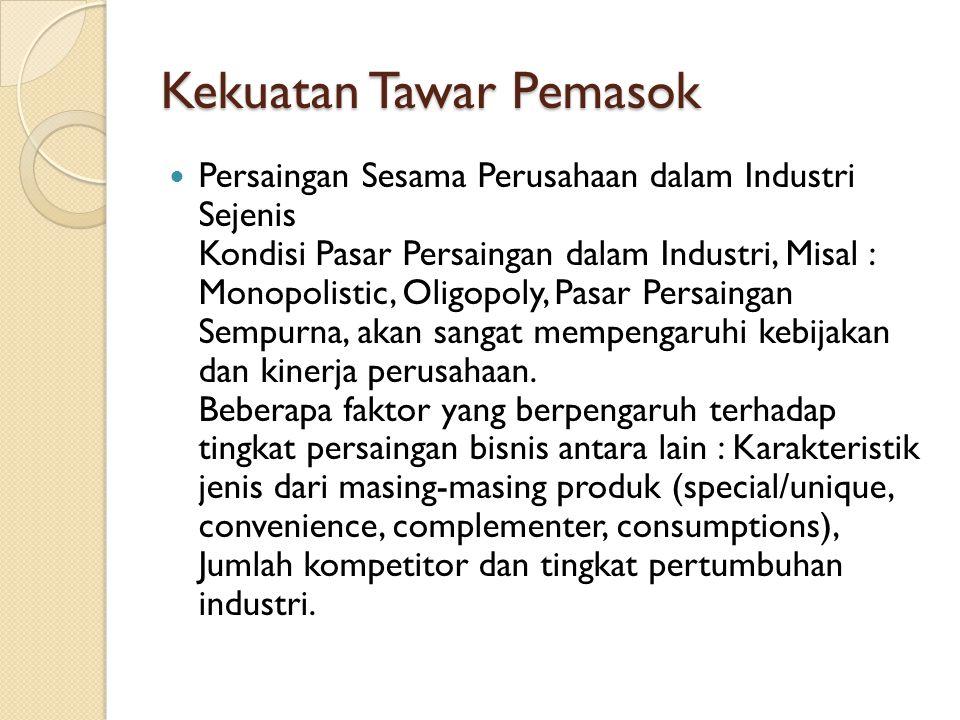 Kekuatan Tawar Pemasok Persaingan Sesama Perusahaan dalam Industri Sejenis Kondisi Pasar Persaingan dalam Industri, Misal : Monopolistic, Oligopoly, P