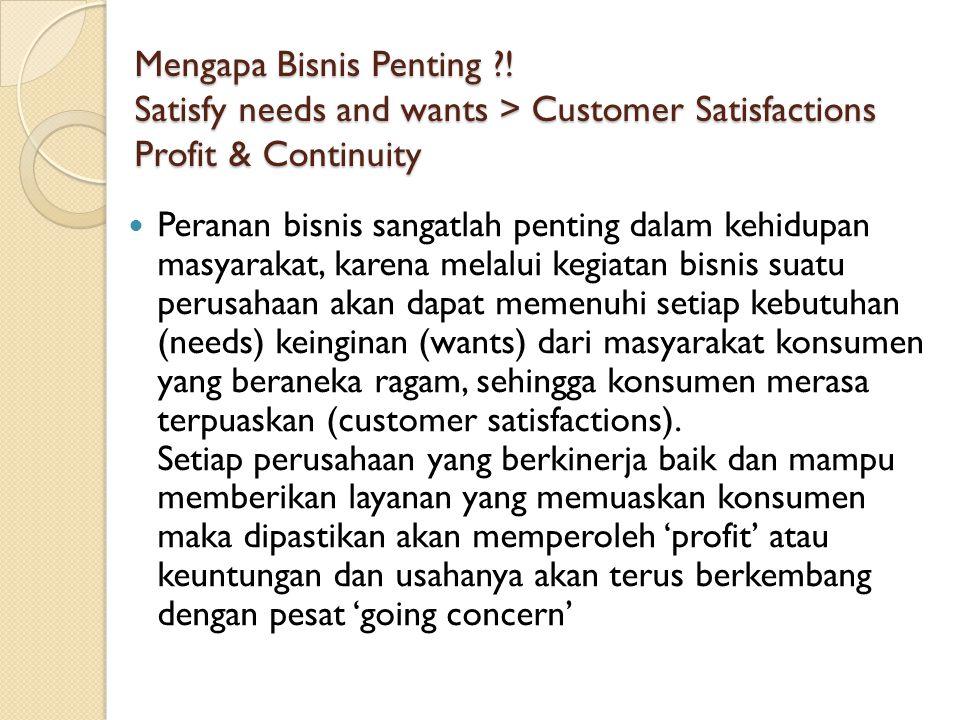 Mengapa Bisnis Penting ?! Satisfy needs and wants > Customer Satisfactions Profit & Continuity Peranan bisnis sangatlah penting dalam kehidupan masyar