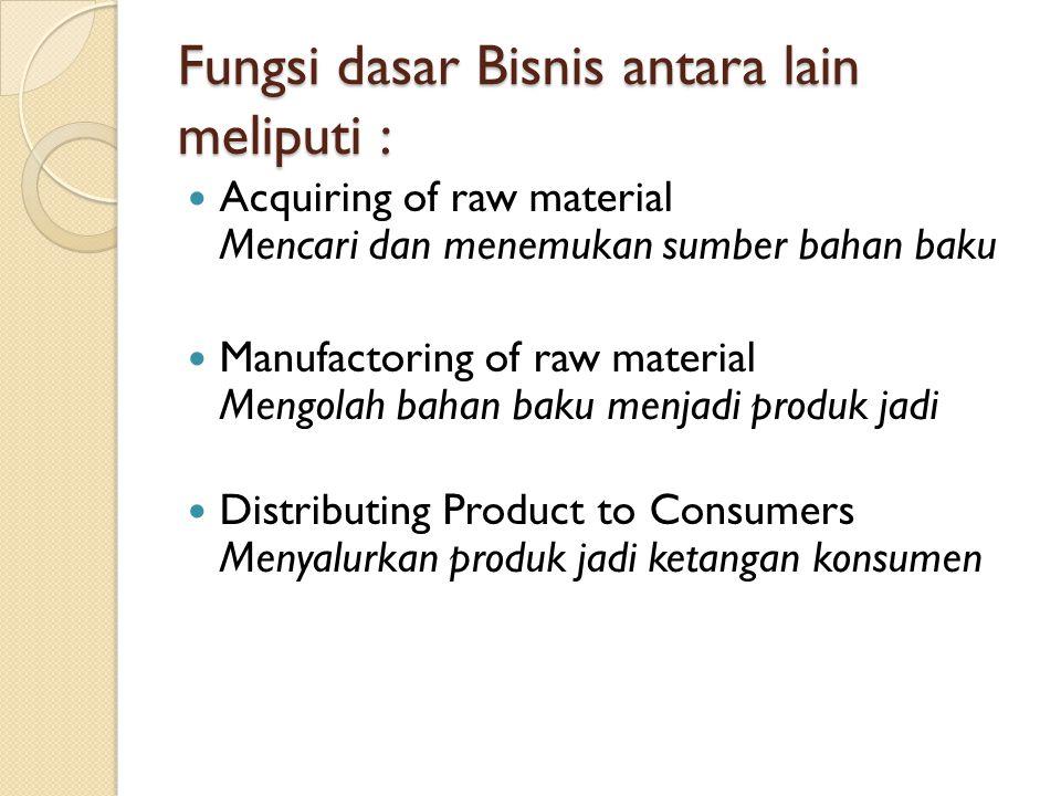 Fungsi dasar Bisnis antara lain meliputi : Acquiring of raw material Mencari dan menemukan sumber bahan baku Manufactoring of raw material Mengolah ba