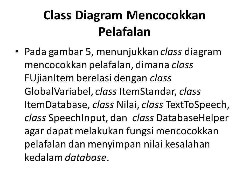 Class Diagram Mencocokkan Pelafalan Pada gambar 5, menunjukkan class diagram mencocokkan pelafalan, dimana class FUjianItem berelasi dengan class Glob
