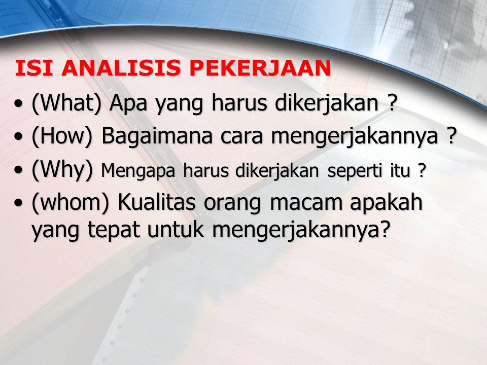 ISI ANALISIS PEKERJAAN (What) Apa yang harus dikerjakan ?(What) Apa yang harus dikerjakan ? (How) Bagaimana cara mengerjakannya ?(How) Bagaimana cara