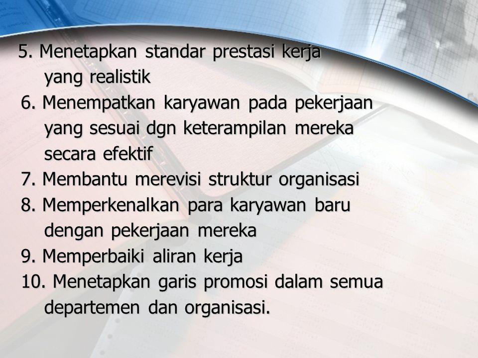 5. Menetapkan standar prestasi kerja yang realistik 6. Menempatkan karyawan pada pekerjaan yang sesuai dgn keterampilan mereka secara efektif 7. Memba