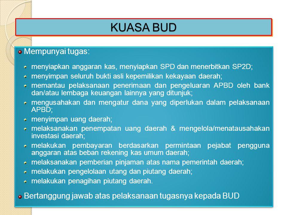KUASA BUD Mempunyai tugas: menyiapkan anggaran kas, menyiapkan SPD dan menerbitkan SP2D; menyimpan seluruh bukti asli kepemilikan kekayaan daerah; mem
