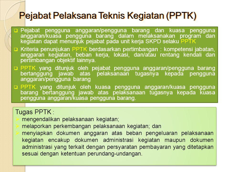 Pejabat Pelaksana Teknis Kegiatan (PPTK)  Pejabat pengguna anggaran/pengguna barang dan kuasa pengguna anggaran/kuasa pengguna barang dalam melaksana