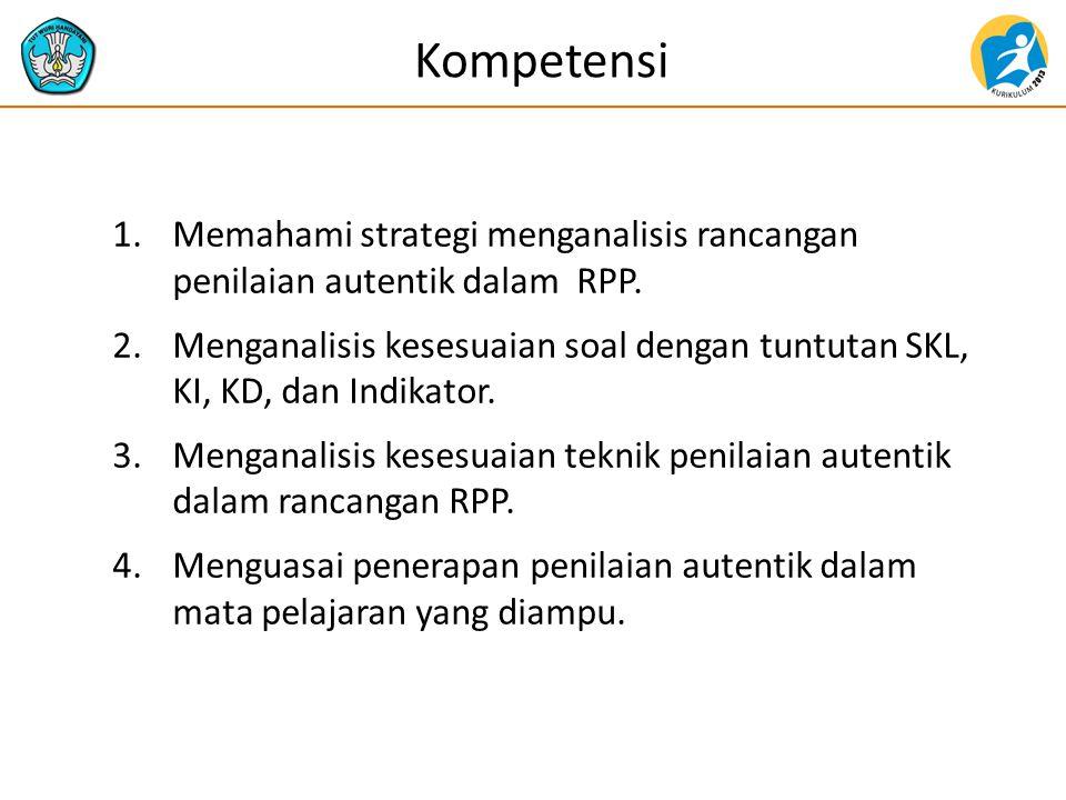 Kompetensi 1.Memahami strategi menganalisis rancangan penilaian autentik dalam RPP. 2.Menganalisis kesesuaian soal dengan tuntutan SKL, KI, KD, dan In
