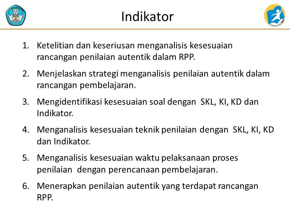 Indikator 1.Ketelitian dan keseriusan menganalisis kesesuaian rancangan penilaian autentik dalam RPP.