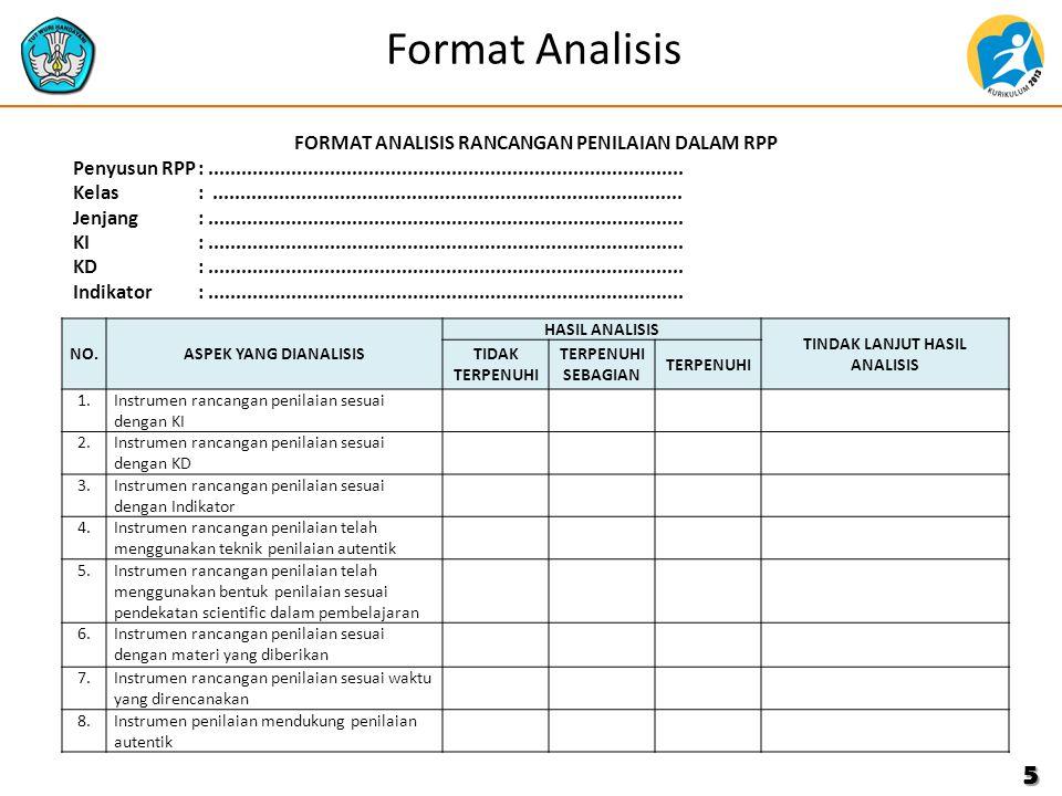 Format Analisis 5 NO.ASPEK YANG DIANALISIS HASIL ANALISIS TINDAK LANJUT HASIL ANALISIS TIDAK TERPENUHI TERPENUHI SEBAGIAN TERPENUHI 1.Instrumen rancangan penilaian sesuai dengan KI 2.Instrumen rancangan penilaian sesuai dengan KD 3.Instrumen rancangan penilaian sesuai dengan Indikator 4.Instrumen rancangan penilaian telah menggunakan teknik penilaian autentik 5.5.Instrumen rancangan penilaian telah menggunakan bentuk penilaian sesuai pendekatan scientific dalam pembelajaran 6.6.Instrumen rancangan penilaian sesuai dengan materi yang diberikan 7.7.Instrumen rancangan penilaian sesuai waktu yang direncanakan 8.Instrumen penilaian mendukung penilaian autentik FORMAT ANALISIS RANCANGAN PENILAIAN DALAM RPP Penyusun RPP:......................................................................................