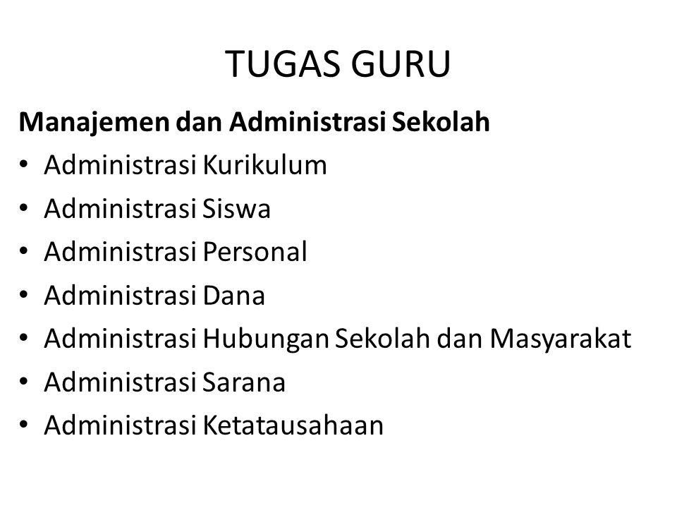 TUGAS GURU Manajemen dan Administrasi Sekolah Administrasi Kurikulum Administrasi Siswa Administrasi Personal Administrasi Dana Administrasi Hubungan Sekolah dan Masyarakat Administrasi Sarana Administrasi Ketatausahaan