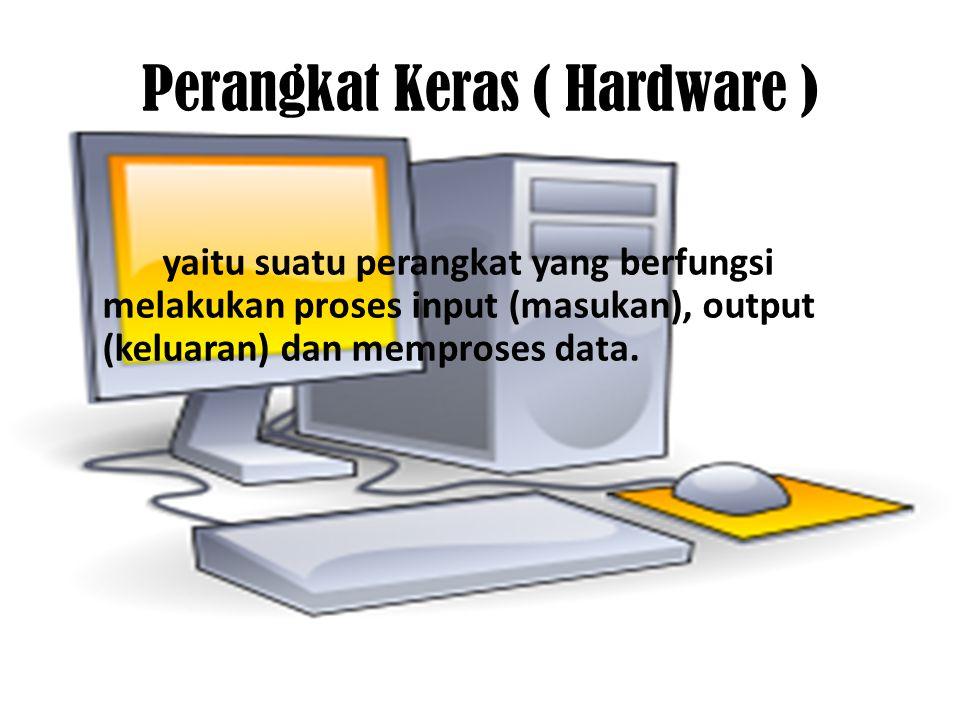 Perangkat keras terdiri dari : 1.Unit Pemrosesan Secara Terpusat (CPU) 2.Perangkat masukan (Input devices) 3.Perangkat Keluaran