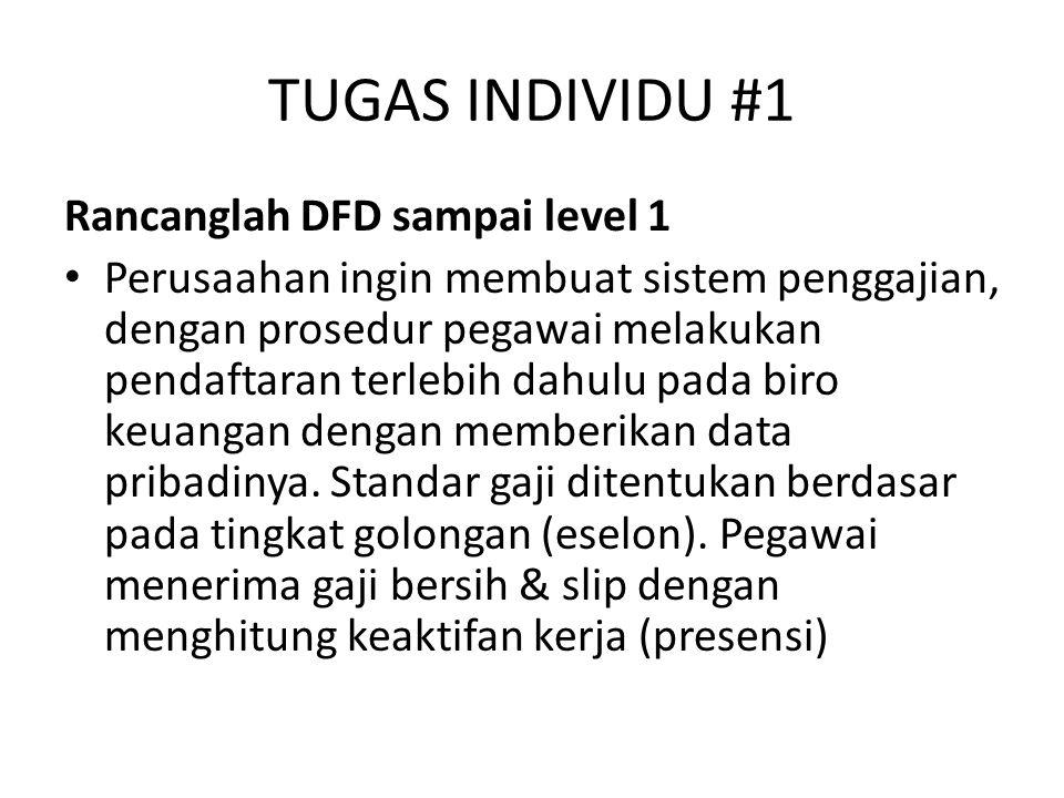 TUGAS INDIVIDU #1 Rancanglah DFD sampai level 1 Perusaahan ingin membuat sistem penggajian, dengan prosedur pegawai melakukan pendaftaran terlebih dah