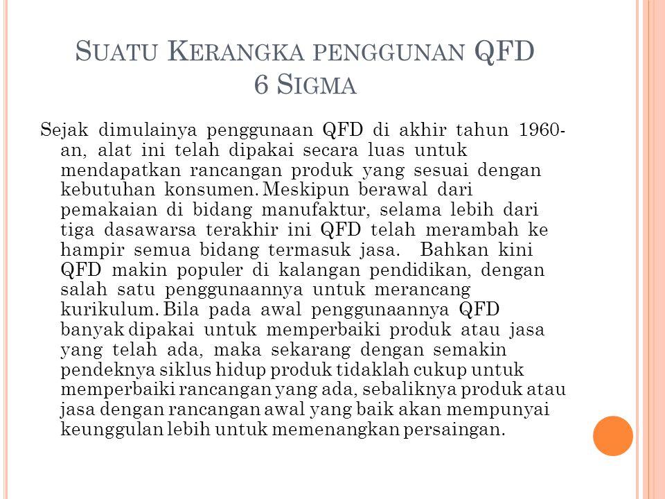 S UATU K ERANGKA PENGGUNAN QFD 6 S IGMA Sejak dimulainya penggunaan QFD di akhir tahun 1960- an, alat ini telah dipakai secara luas untuk mendapatkan rancangan produk yang sesuai dengan kebutuhan konsumen.