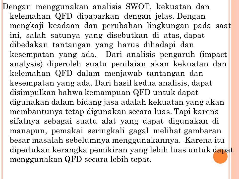 Dengan menggunakan analisis SWOT, kekuatan dan kelemahan QFD dipaparkan dengan jelas. Dengan mengkaji keadaan dan perubahan lingkungan pada saat ini,