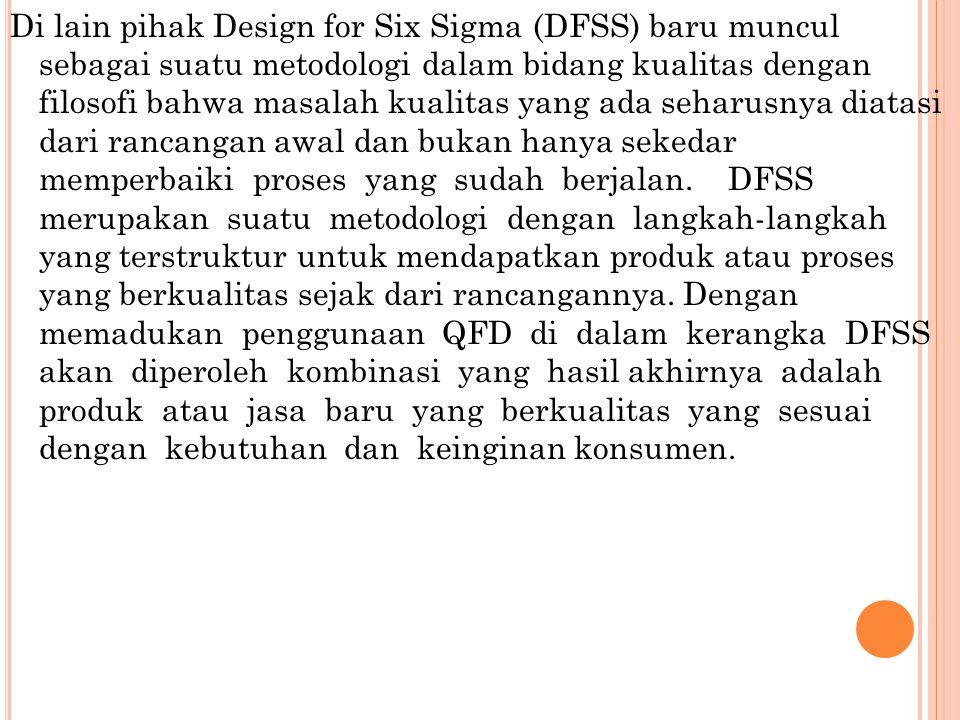 Di lain pihak Design for Six Sigma (DFSS) baru muncul sebagai suatu metodologi dalam bidang kualitas dengan filosofi bahwa masalah kualitas yang ada seharusnya diatasi dari rancangan awal dan bukan hanya sekedar memperbaiki proses yang sudah berjalan.