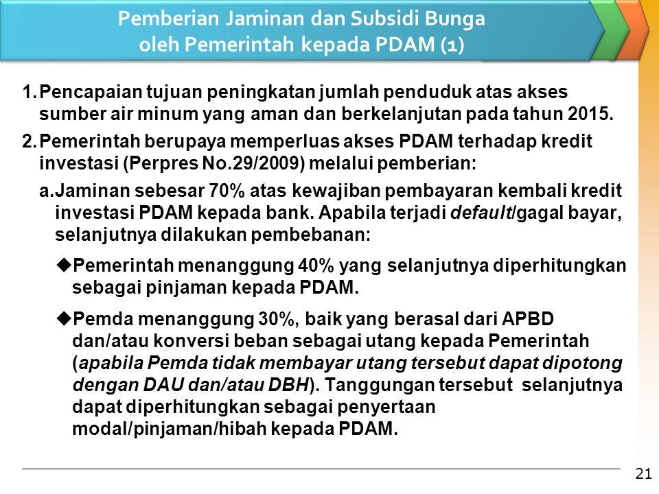 Pemberian Jaminan dan Subsidi Bunga oleh Pemerintah kepada PDAM (1) 1.Pencapaian tujuan peningkatan jumlah penduduk atas akses sumber air minum yang a