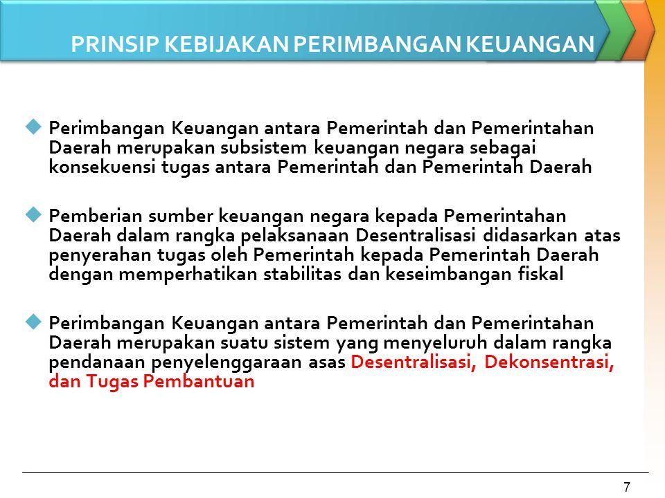 8 Prinsip Money Follow Function Pendanaan atas fungsi-fungsi pemerintahan dilakukan berdasarkan pembagian urusan antara Pemerintah Pusat dan Pemerintahan Daerah Urusan pemerintahan yang menjadi kewenangan pusat Urusan pemerintahan yang menjadi kewenangan daerah A P B NA P B D didanai dari Termasuk kegiatan dekonsentrasi dan tugas pembantuan