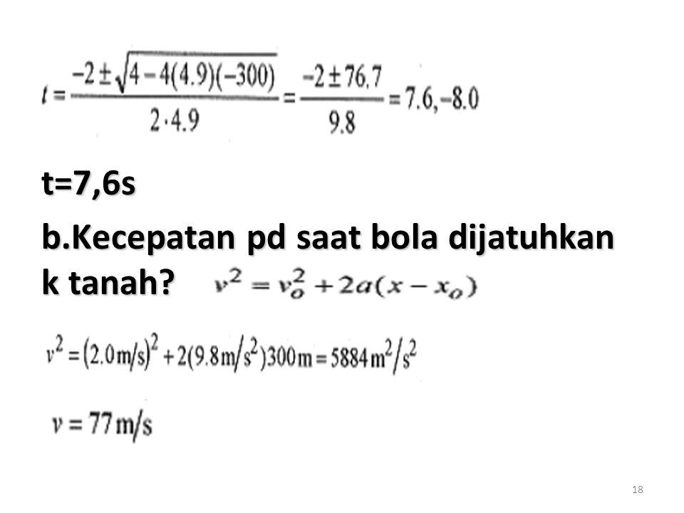 18 t=7,6s b.Kecepatan pd saat bola dijatuhkan k tanah?
