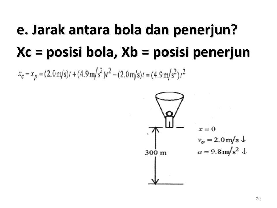 20 e. Jarak antara bola dan penerjun? Xc = posisi bola, Xb = posisi penerjun