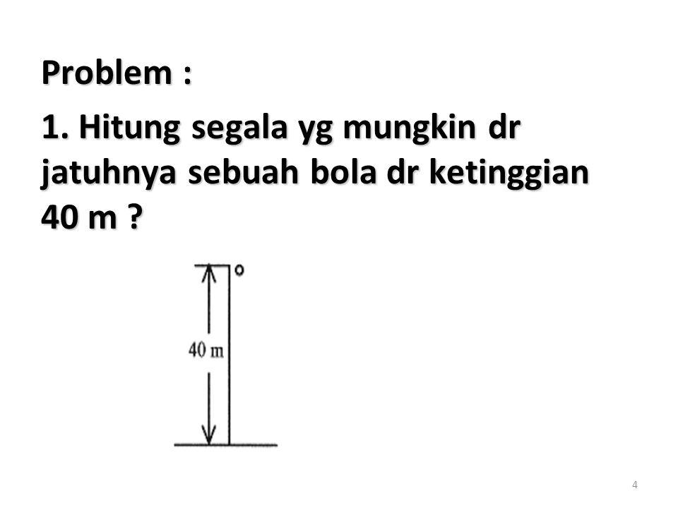 4 Problem : 1. Hitung segala yg mungkin dr jatuhnya sebuah bola dr ketinggian 40 m ?